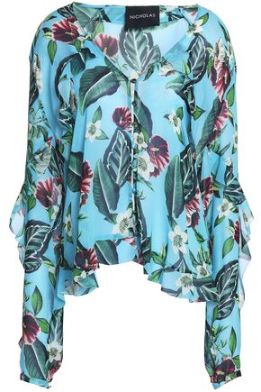 NICHOLAS Ruffled floral-print silk-georgette top