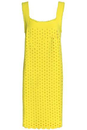 DEREK LAM Frayed laser-cut stretch-knit dress