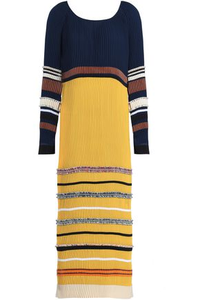 DEREK LAM Metallic striped pleated chiffon midi dress