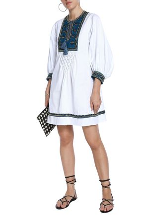 TALITHA Embroidered cotton-jacquard mini dress