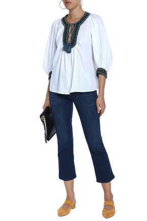 TALITHA Gathered embroidered cotton-jacquard blouse