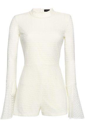 DE LA VALI Cotton-blend lace playsuit