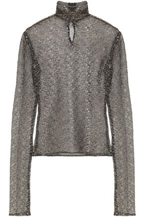 DE LA VALI Metallic corded lace turtleneck top