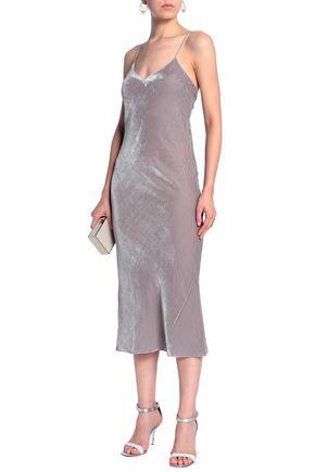 DE LA VALI Velvet slip dress
