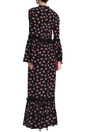 DE LA VALI Lace-trimmed printed silk crepe de chine maxi dress