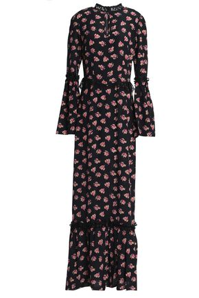 DE LA VALI Lace-trimmed printed silk crepe de chine maxi dress