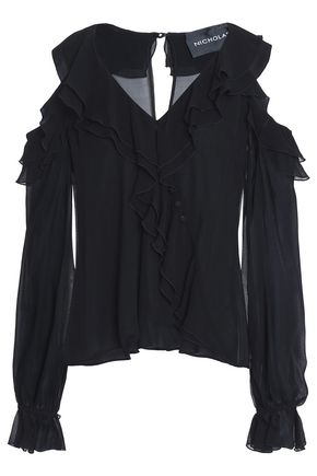 NICHOLAS Cold-shoulder ruffled silk-georgette blouse