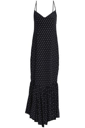 DE LA VALI Polka-dot silk slip dress