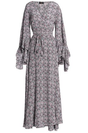 DE LA VALI Printed silk maxi wrap dress