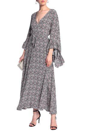 DE LA VALI Printed silk maxi wrap dress