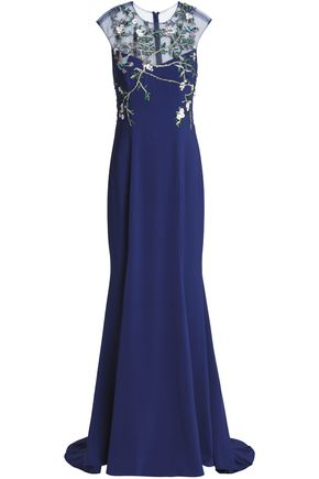 MONIQUE LHUILLIER Embellished paneled tulle gown
