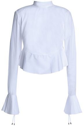 MICHAEL LO SORDO Fluted lace-up cotton-poplin top