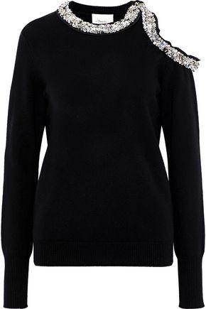 3.1 PHILLIP LIM Cold-shoulder embellished merino wool and yak-blend sweater