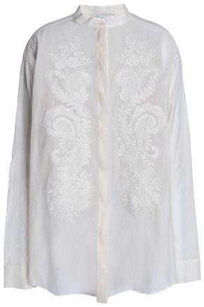 STELLA McCARTNEY Embroidered cotton-blend gauze shirt