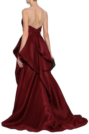 MONIQUE LHUILLIER Organza-paneled draped duchesse silk-satin gown