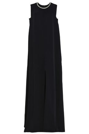 MONIQUE LHUILLIER Split-front embellished woven maxi dress