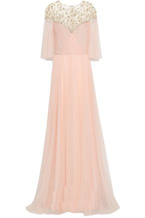 MONIQUE LHUILLIER Embellished ruched tulle gown