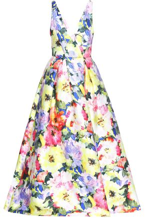 MONIQUE LHUILLIER Floral-print satin gown