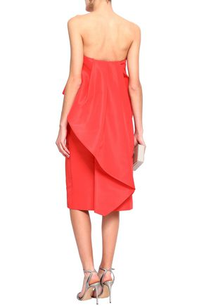 MONIQUE LHUILLIER Strapless layered silk-taffeta midi dress