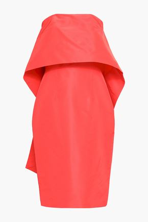MONIQUE LHUILLIER Strapless layered silk-taffeta midi dress
