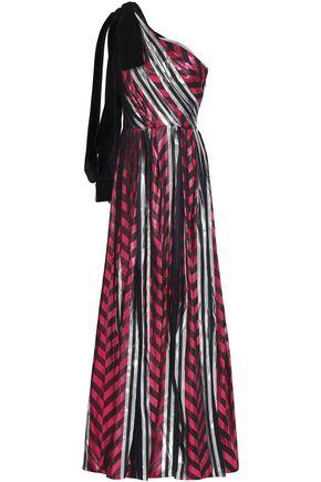 MONIQUE LHUILLIER ワンショルダー ラメ&ベルベットジャカード ロングドレス