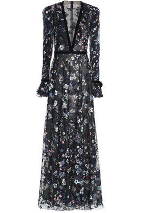 MONIQUE LHUILLIER Velvet-trimmed embroidered tulle gown