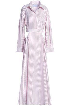 MICHAEL LO SORDO Cutout striped cotton maxi dress