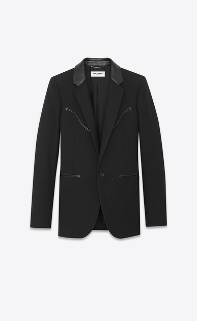 Gabardine jacket with Western-style detailing and leather collar