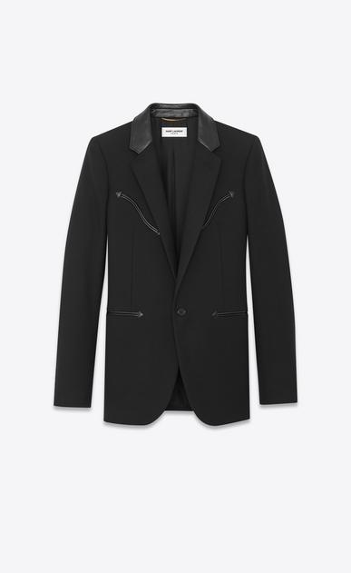 Veste en gabardine avec détails western et col en cuir