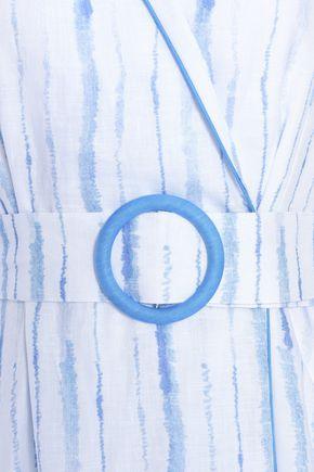 GÜL HÜRGEL Striped cotton-gauze wrap dress