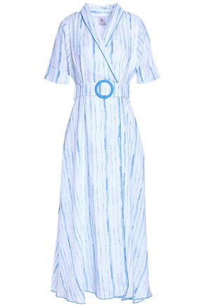 GÜL HÜRGEL Striped cotton-gauze wrap dress