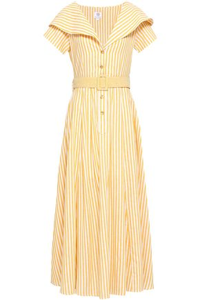 GÜL HÜRGEL Striped cotton and linen-blend maxi dress