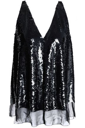 STELLA McCARTNEY Sequined silk-chiffon top