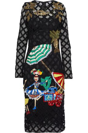 DOLCE & GABBANA Appliquéd embroidered tulle dress