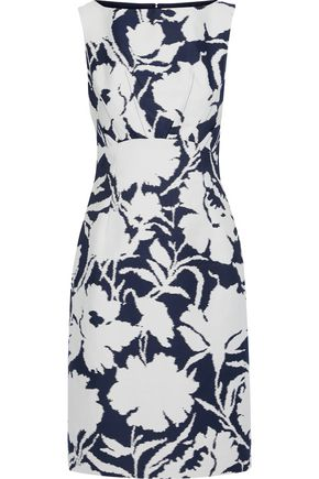 OSCAR DE LA RENTA Printed cotton and silk-blend twill dress