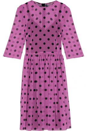 DOLCE & GABBANA Pleated polka-dot silk-blend chiffon dress