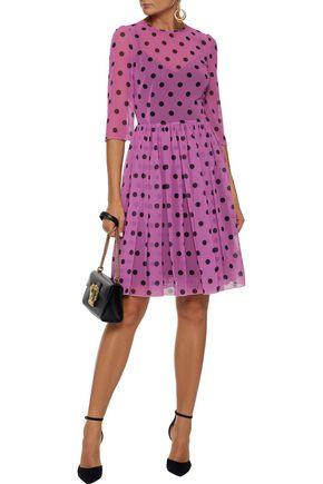 13742c7c7ea7 DOLCE   GABBANA Pleated polka-dot silk-blend chiffon dress