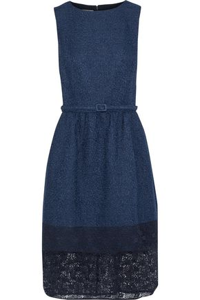 OSCAR DE LA RENTA Lace-paneled belted cotton-blend tweed dress