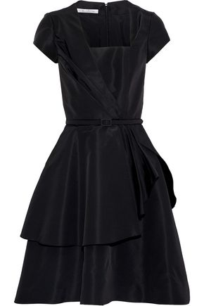 OSCAR DE LA RENTA Layered belted silk-faille dress