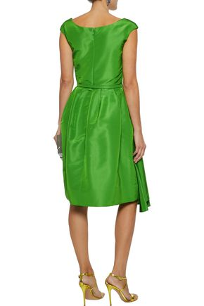 OSCAR DE LA RENTA Belted gathered silk-faille dress