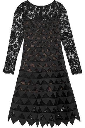 OSCAR DE LA RENTA Appliquéd cotton-blend lace dress