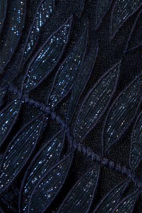 OSCAR DE LA RENTA Flared metallic appliquéd tulle dress