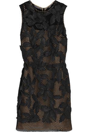 OSCAR DE LA RENTA Leather-appliquéd cotton-blend mini dress