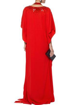 OSCAR DE LA RENTA Sequin-embellished cutout cotton-blend crepe gown