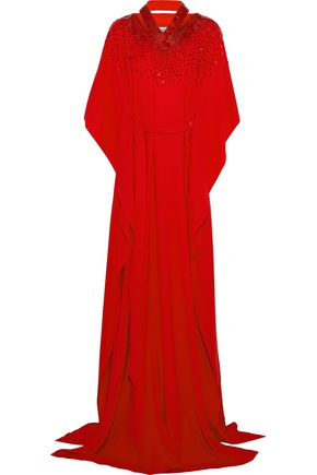 OSCAR DE LA RENTA Sequin-embellished cutout cotton-blend crepe gown