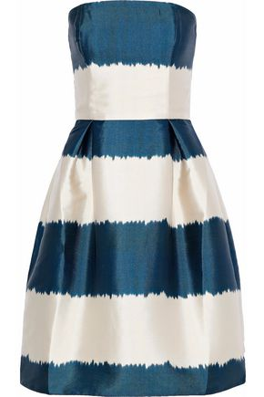 SACHIN & BABI Strapless striped duchesse-satin dress