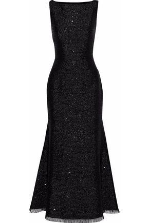OSCAR DE LA RENTA Sequin-embellished metallic crepe gown