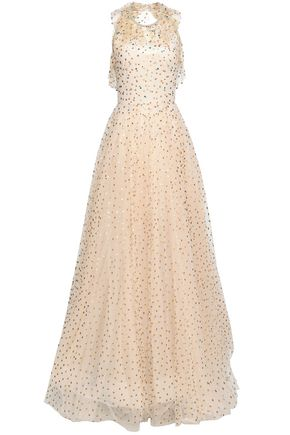 JENNY PACKHAM Open-back embellished metallic polka-dot tulle gown