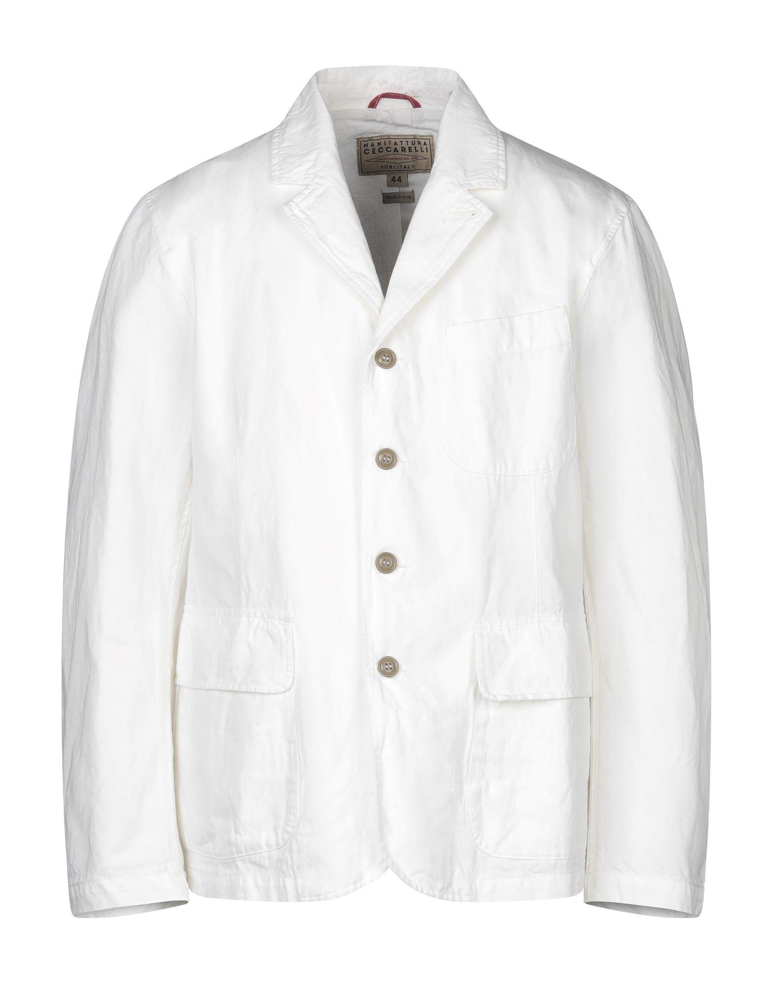 《セール開催中》MANIFATTURA CECCARELLI メンズ テーラードジャケット ホワイト 38 コットン 76% / 麻 24%