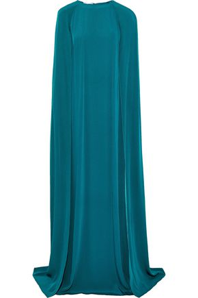 OSCAR DE LA RENTA Cape-effect silk gown